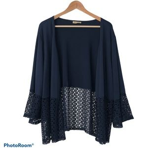 Navy Blue Open Face Sheer Lace 3/4 Sleeve Cardigan